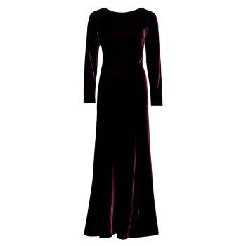 Long-Sleeve Silk Velvet Gown Alberta Ferretti