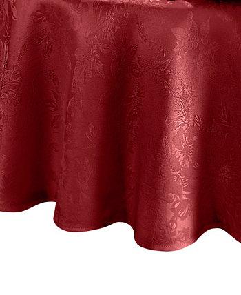 "Poinsettia Jacquard Holiday Tablecloth - 90"" Elrene"