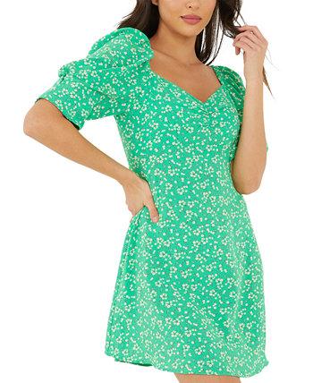 Платье с пышными рукавами и принтом Quiz
