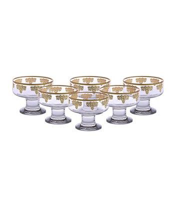 Десертные тарелки с дизайном из золота 585 пробы, набор из 6 шт. Classic Touch