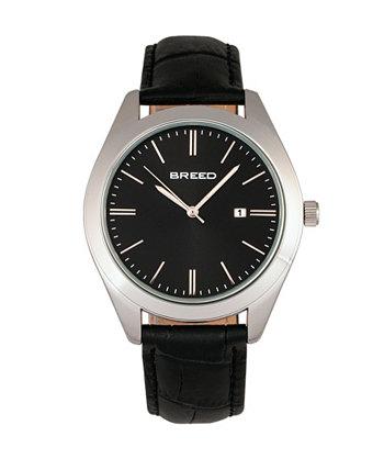 Кварц Louis Silver и черный и черный натуральная кожа часы 42 мм Breed