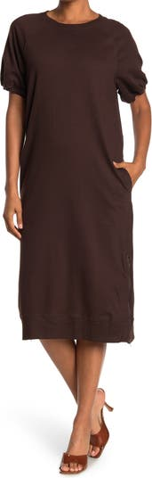 French Terry Raglan Sleeve Midi Dress Cloth By Design