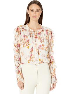 Блуза с рюшами на рукавах с принтом ML Monique Lhuillier