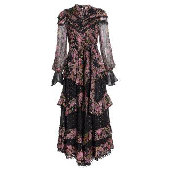 Многослойное платье с цветочным узором в горошек HEMANT & NANDITA