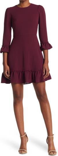 Ruffled Textured Knit Flared Dress Eliza J