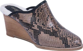 Sagina Embossed Leather Genuine Shearling Lined Mule Andre Assous