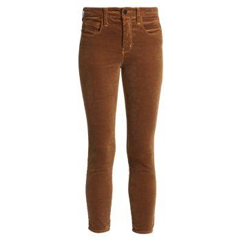 Бархатные джинсы скинни до щиколотки Margot с высокой посадкой L'AGENCE