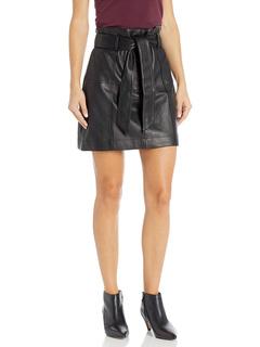 Emmett Belted Paper Bag Leather Skirt Parker