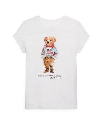 Футболка Polo Bear из хлопкового джерси для маленьких девочек Ralph Lauren
