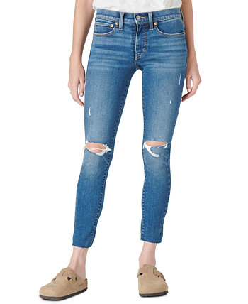 Mid-Rise Destructed Cut-Hem Skinny Pants Lucky Brand