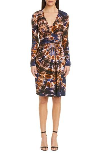 Сетчатое платье с длинными рукавами и драпировкой с принтом FUZZI