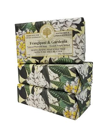 Франгипани и мыло Гардения с пакетом по 3 штуки, каждая по 7 унций Wavertree & London
