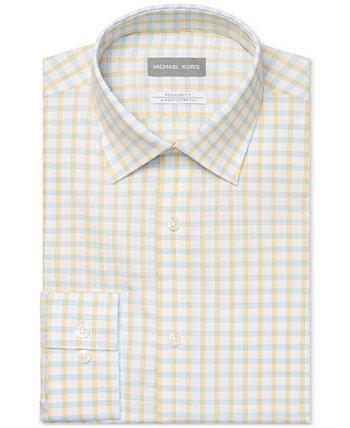 Мужская классическая / стандартная классическая классическая рубашка в клетку для страйкбола без железа, стрейч в клетку с лимонной глазурью Michael Kors