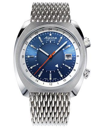 Мужские швейцарские автоматические часы Startimer Pilot Heritage GMT с сеткой из нержавеющей стали 42x41 мм Alpina