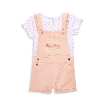 Двухкомпонентный топ с принтом в виде сердечек для Little Girl & amp; Комплект шортоллов BCBG Girls