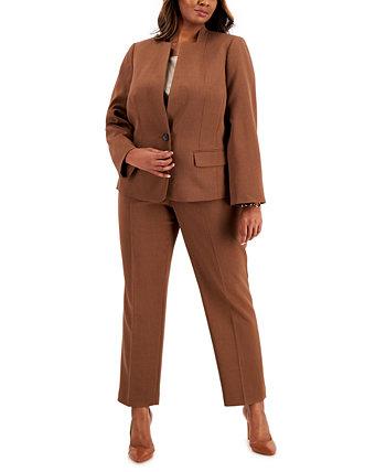 Plus Size Stand-Collar Crepe Pantsuit Le Suit