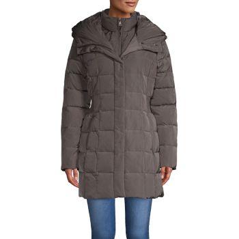 Стеганое пуховое пальто с присборенной талией и капюшоном Re/Done