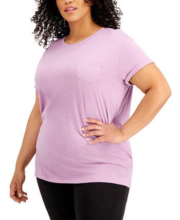 Модная футболка больших размеров из хлопка с карманами Derek Heart