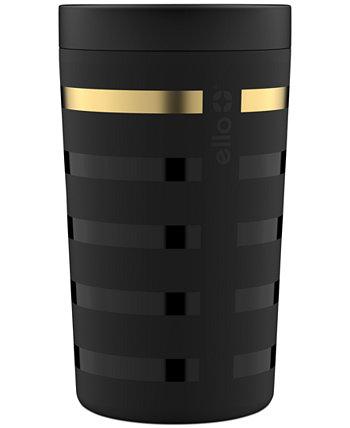 Джонс 11 унций Кофейный стакан из нержавеющей стали, черные металлические полосы Ello
