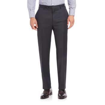 Шерстяные брюки с плоской передней частью Canali