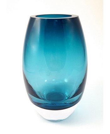 Павлинья синяя сияющая ваза Badash Crystal