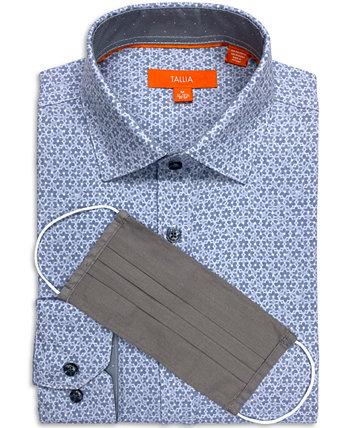 Мужская приталенная классическая рубашка с геометрическим принтом и эластичным принтом и бесплатная маска для лица Tallia