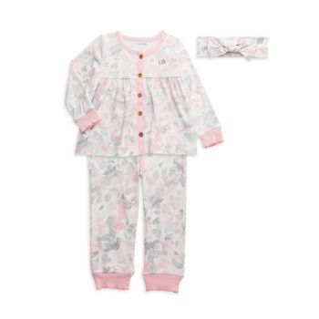 Baby Girl's 3-Piece Floral Pajamas & Headband Set Calvin Klein