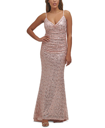 Платье-русалка со сборками и блестками Eliza J