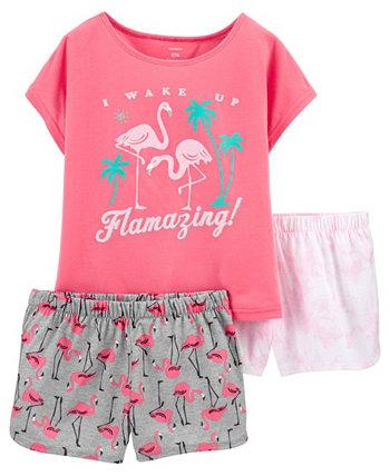 Пижамы свободного кроя Little Girls Flamingo, 3 шт. Carter's