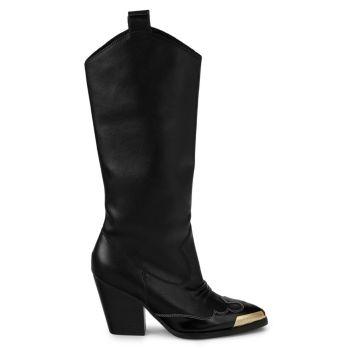 Кожаные сапоги Linea Fondo Camperos до колена Versace Jeans Couture