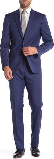 Синий классический приталенный костюм с двумя пуговицами и лацканами Tommy Hilfiger