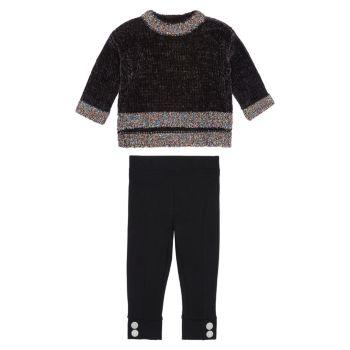 Двухкомпонентный свитер для маленьких девочек & amp; Комплект брюк Ponte HABITUAL girl