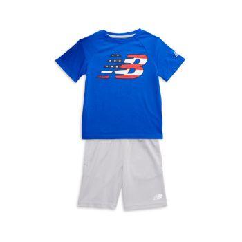 Двухкомпонентная футболка с логотипом и активным логотипом Little Boy & amp; Комплект шорт New Balance