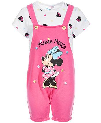 Baby Girls 2-Pc. Комплект с короткими рукавами и футболкой с принтом Минни Маус Disney