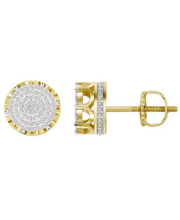 Мужские серьги с бриллиантами (1/3 карата) из желтого золота 10 карат Macy's