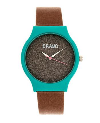 Мужские блестящие коричневые часы с ремешком из кожзаменителя 36мм Crayo
