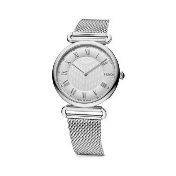 Часы Palazzo Silvertone из нержавеющей стали с сетчатым браслетом Fendi Timepieces