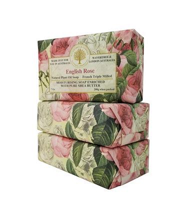 Английское розовое мыло с пакетом из 3, каждая 7 унций Wavertree & London