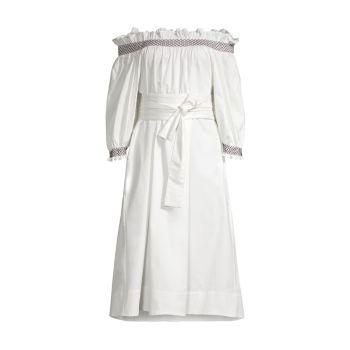 Хлопковое платье с открытыми плечами Helena Cynthia Rowley