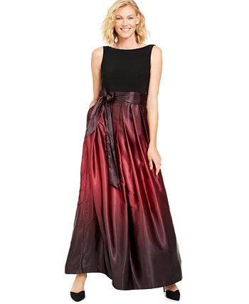 Атласное платье с бантом и поясом Ombré SL Fashions