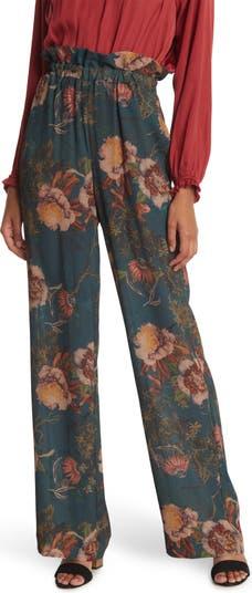 Широкие брюки с высокой талией и цветочным рисунком Haute Hippie