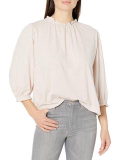 Barbara Cotton Slub Ruffle Mock Neck T-shirt Velvet by Graham & Spencer