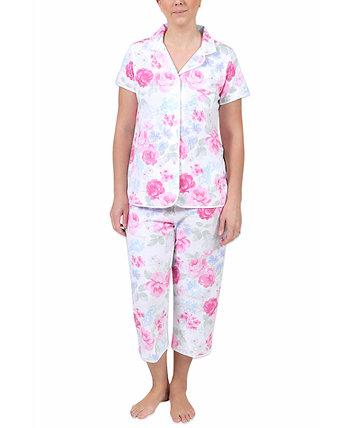 Комплект укороченных пижамных штанов с цветочным принтом Miss Elaine