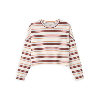 Girl's Oversized Striped Cropped Sweater HABITUAL girl