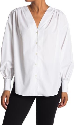 V-Neck Long Sleeve Button Front Tunic Shirt Jason Wu