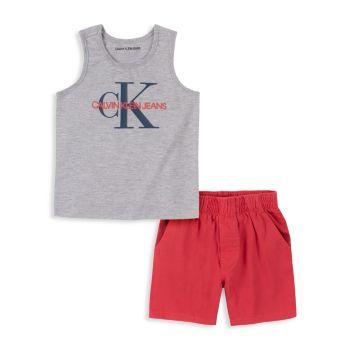 Little Boy's 2-Piece Logo T-Shirt & Shorts Set Calvin Klein
