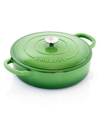 Artisan 5 Quart Round Enameled Braiser Pan with Self Basting Lid Crock-Pot