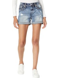 Flap Pocket Mid-Rise Shorts in Dark Blue Miss Me