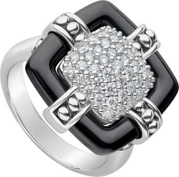 Серебряное кольцо с черной керамикой и бриллиантом Caviar - размер 7 - 0.60 карат LAGOS