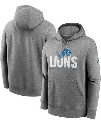 Толстовка с капюшоном для больших и высоких мужчин с темно-серым покрытием Detroit Lions Team Impact Club Nike